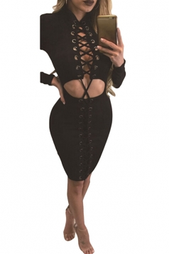 Womens Cut Out Cross Lace-up Long Sleeve Clubwear Dress Black
