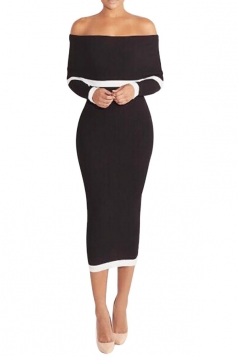 Womens Knit Off Shoulder Long Sleeve Midi Bodycon Dress Black