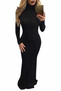 Womens High Neck Long Sleeve Plain Bodycon Maxi Dress Black