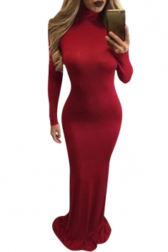 Womens High Neck Long Sleeve Plain Bodycon Maxi Dress Red