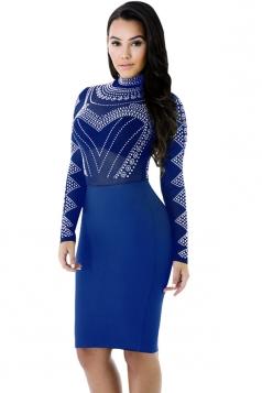 Womens Sheer Rhinestone Mock Neck Long Sleeve Clubwear Dress Blue