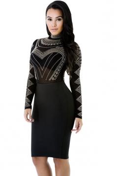Womens Sheer Rhinestone Mock Neck Long Sleeve Clubwear Dress Black