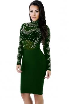 Womens Sheer Rhinestone Mock Neck Long Sleeve Clubwear Dress Green