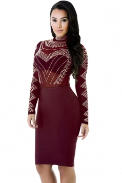 Womens Sheer Rhinestone Mock Neck Long Sleeve Clubwear Dress Ruby