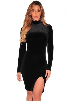 Womens Mock Neck Plain Long Sleeve Side Slit Bodycon Dress Black