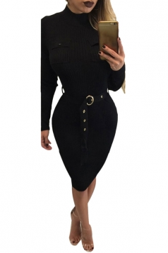 Womens Mock Neck Long Sleeve Midi Sweater Dress Black