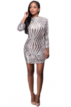 Womens Sequined 3/4 Length Sleeve Backless Clubwear Dress Silvery