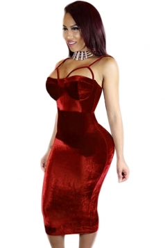 Womens Sexy Spaghetti Straps Bodycon Clubwear Dress Red
