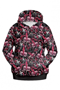 Womens Long Sleeve Harley Quinn Printed Pullover Hoodie Rose Red