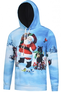 Womens Long Sleeve Santa Claus and Animals Printed Christmas Hoodie Light Blue