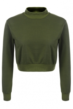 Womens Mock Neck Long Sleeve Plain Crop Pullover Sweatshirt Army Green