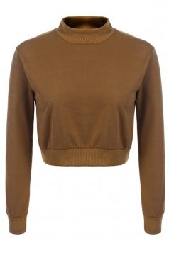 Womens Mock Neck Long Sleeve Plain Crop Pullover Sweatshirt Ginger