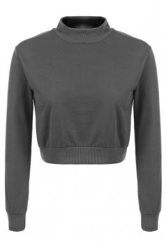Womens Mock Neck Long Sleeve Plain Crop Pullover Sweatshirt Gray