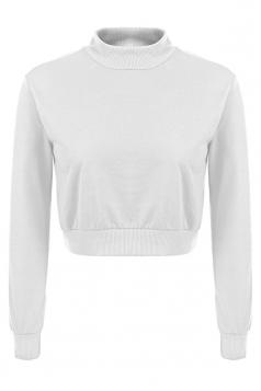 Womens Mock Neck Long Sleeve Plain Crop Pullover Sweatshirt White