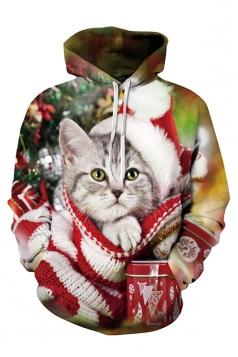 Womens Cute Christmas Cat Printed Long Sleeve Pullover Hoodie Green
