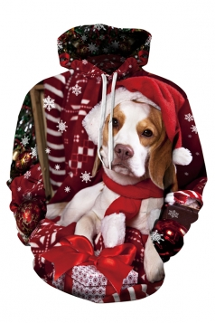 Womens Cute Christmas Dog Printed Long Sleeve Pullover Hoodie Red