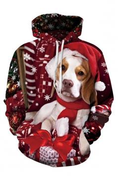 Womens Cute Christmas Dog Printed Long Sleeve Pullover Hoodie Red