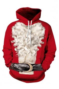 Womens Christmas Santa Printed Long Sleeve Pullover Hoodie White