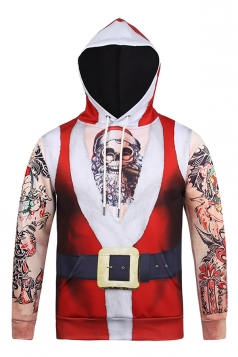 Womens Santa Skull Printed Long Sleeve Christmas Hoodie Red