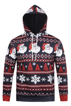 Womens Snowflake Printed Long Sleeve Pullover Christmas Hoodie Red