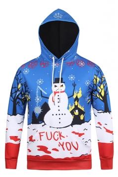 Womens Long Sleeve Pullover Snowman Printed Christmas Hoodie Blue