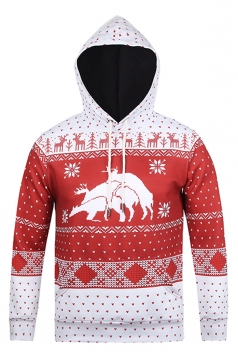 Womens Reindeer Printed Long Sleeve Pullover Christmas Hoodie Red
