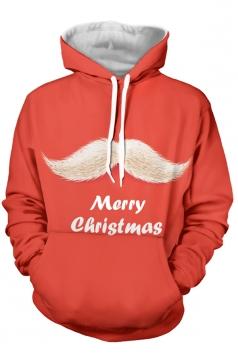 Womens Merry Christmas Printed Long Sleeve Pocket Hoodie Red