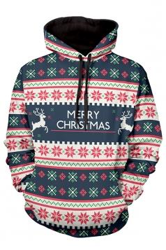 Womens Christmas Snowflake Printed Long Sleeve Pocket Hoodie Red