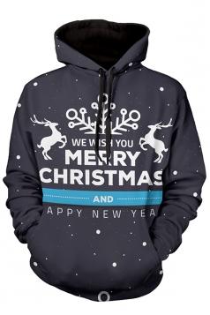 Womens Merry Christmas Reindeer Printed Long Sleeve Hoodie Black
