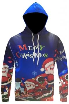Womens Christmas Santa Printed Long Sleeve Drawstring Hoodie Navy Blue