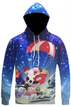 Womens Christmas Santa Snowman Printed Long Sleeve Hoodie Blue