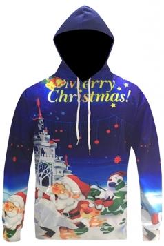 Womens Merry Christmas Printed Long Sleeve Drawstring Hoodie Blue