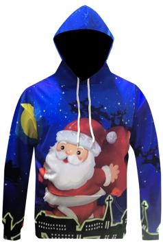 Womens Christmas Santa Claus Printed Long Sleeve Hoodie Blue