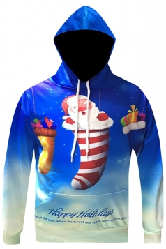 Womens Long Sleeve Stocking Santa Printed Christmas Hoodie Blue