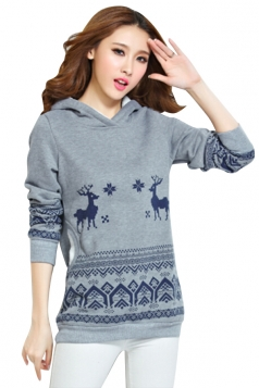 Womens Reindeer Printed Long Sleeve Christmas Hoodie Gray