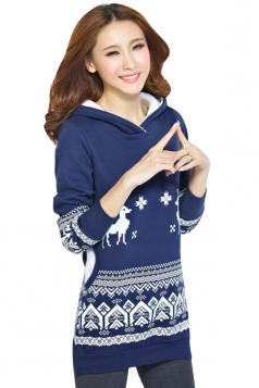 Womens Reindeer Printed Long Sleeve Christmas Hoodie Navy Blue
