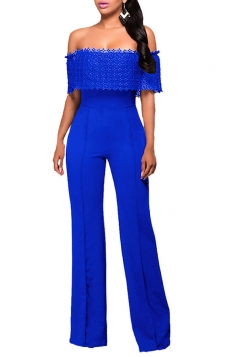 Womens Off Shoulder High Waist Plain Palazzo Jumpsuit Sapphire Blue