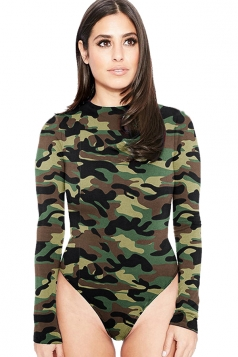 Womens Long Sleeve One-piece Camouflage Printed Bodysuit Green