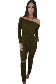 Womens Off Shoulder Drawstring Waist Ripped Jumpsuit Army Green