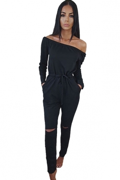 Womens Off Shoulder Drawstring Waist Ripped Long Sleeve Jumpsuit Black