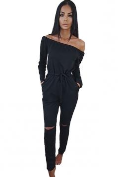 Womens Off Shoulder Drawstring Waist Ripped Long Sleeve Jumpsuit Black