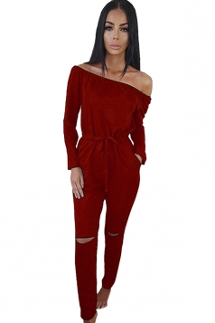 Womens Off Shoulder Drawstring Waist Ripped Long Sleeve Jumpsuit Red