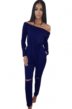 Womens Off Shoulder Drawstring Waist Ripped Jumpsuit Sapphire Blue