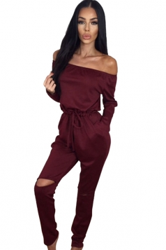 Womens Off Shoulder Drawstring Waist Ripped Long Sleeve Jumpsuit Ruby