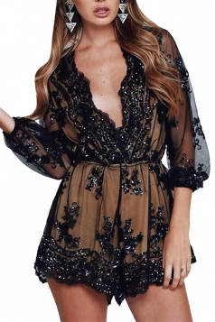 Womens Plunging Neck Sequined Long Sleeve Tunic Romper Black