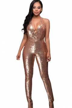 Womens Halter V-neck Sequined Backless Jumpsuit Gold