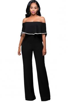 Womens Off Shoulder Ruffled High Waist Palazzo Jumpsuit Black