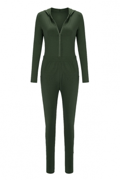 Womens Zip Up Hooded Long Sleeve Plain Sports Jumpsuit Green