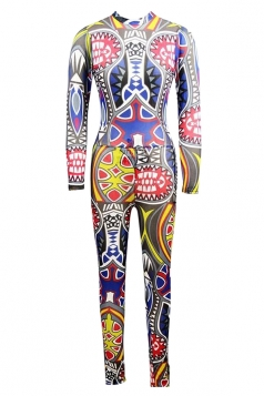 Womens Tribal Printed Long Sleeve High Waist Jumpsuit Yellow