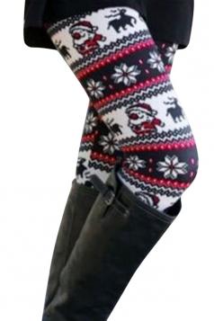 Womens Christmas Santa Claus Printed Leggings White